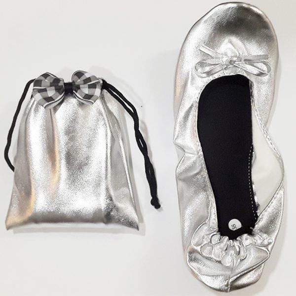 Bailarinas plateadas con bolsita