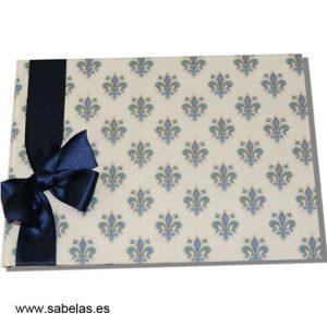 Libro de firmas Flor de Lis azul