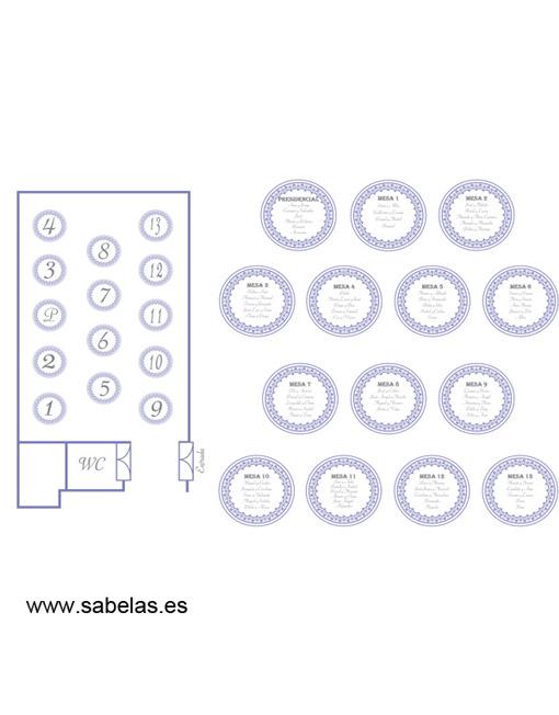 Protocolo de mesas modelo Retro azul