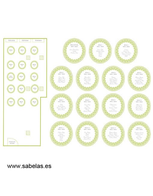 Protocolo de mesas modelo Retro verde