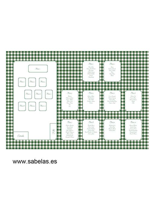 Protocolo de mesas modelo Vichy Verde