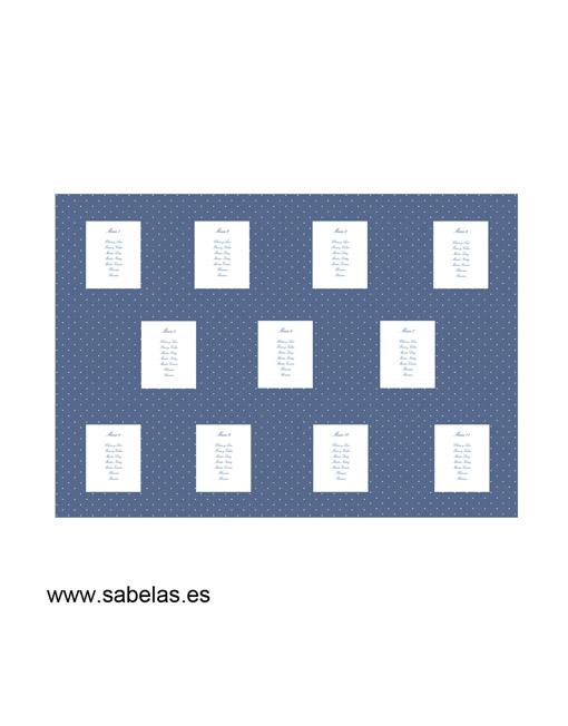 Protocolo de mesas modelo Plumetti azul