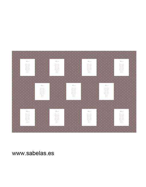 Protocolo de mesas modelo Plumetti color higo