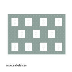 Protocolo de mesas modelo Plumetti color esmeralda