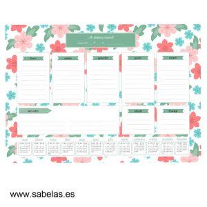 Organizador Semanal Flores