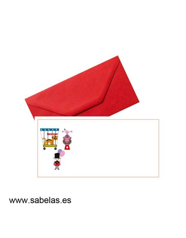 Set sobres & tarjetones modelo circo