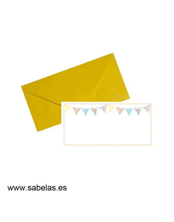 Set sobres & tarjetones modelo banderines